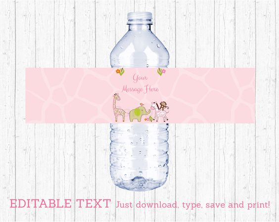 Pink Jungle Animal Water Bottle Labels / Jungle Animal Baby Shower / Girl Jungle Animal / Baby Girl Shower / INSTANT DOWNLOAD Editable PDF by LittlePrintsParties on Etsy https://www.etsy.com/listing/279126862/pink-jungle-animal-water-bottle-labels