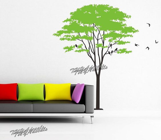 wall decals  Vinyl Wall Decal Nature Design Tree Wall Decals chrildrens wall decals Wallstickers Tree with bird decal: tree