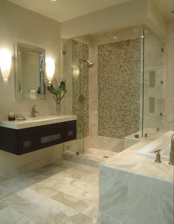 Shower tiles vanities and glasses on pinterest for Bathroom ideas with beige tiles