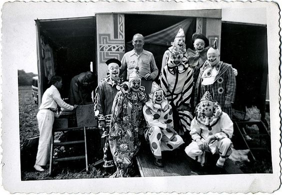 Al G. Kelly with Clowns of the Miller Brothers Circus, Newcomerstown, Ohio, 1951. Gelatin Silver Print Snapshot