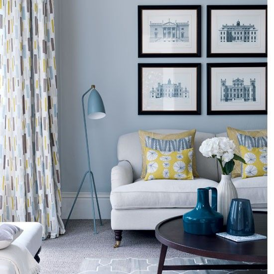 Use palette of sharp yellows and utilitarian greys is reminiscent of post war style with a modern twist.   Grey living room with yellow highlights | Living rooms | Curtains | housetohome.co.uk