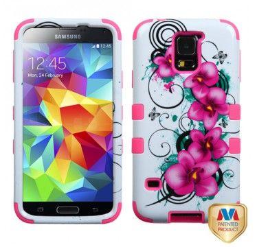 SAMSUNG Galaxy S5> Galaxy S5 Morning Petunias Electric rosa TUFF Hybrid telefonisch Schutzabdeckung