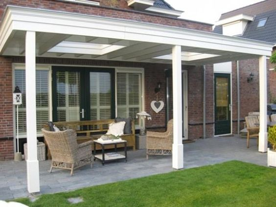 veranda wit hout en open veranda kleur pinterest