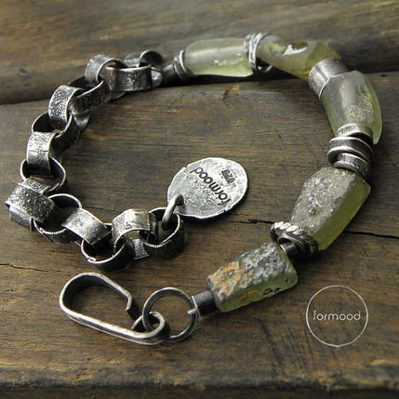 Sterling silver and ancient glass bracelet by studioformood