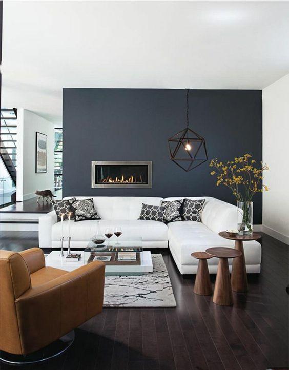 dunkler holzboden und dunkle wand home pinterest wohnzimer blau und w nde. Black Bedroom Furniture Sets. Home Design Ideas