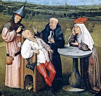 "A detail from ""The Extraction of the Stone of Madness"", a painting by Hieronymus Bosch depicting trepanation (c.1488-1516).  Note the bollock pouch on the chair and the purse on the lady."