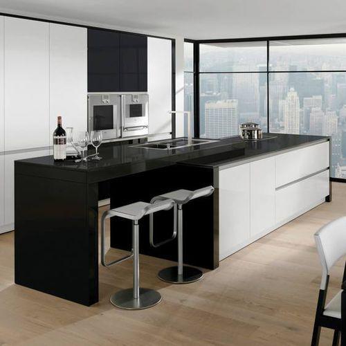Cocina moderna / de acero inoxidable / de madera lacada / con isla ...
