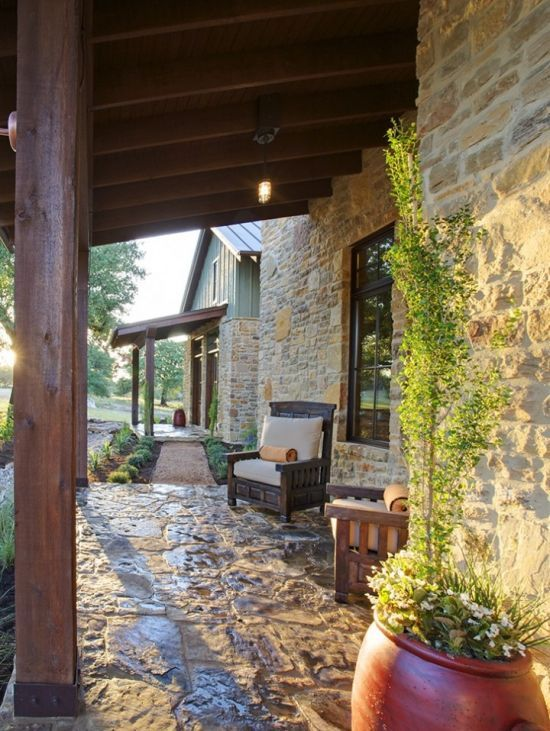 Hill country farmhouse outdoor rooms and porches for Hill country design