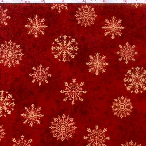 Cotton Quilt Fabric Tis The Season Christmas Red Snowflakes ... : red snowflake quilt - Adamdwight.com
