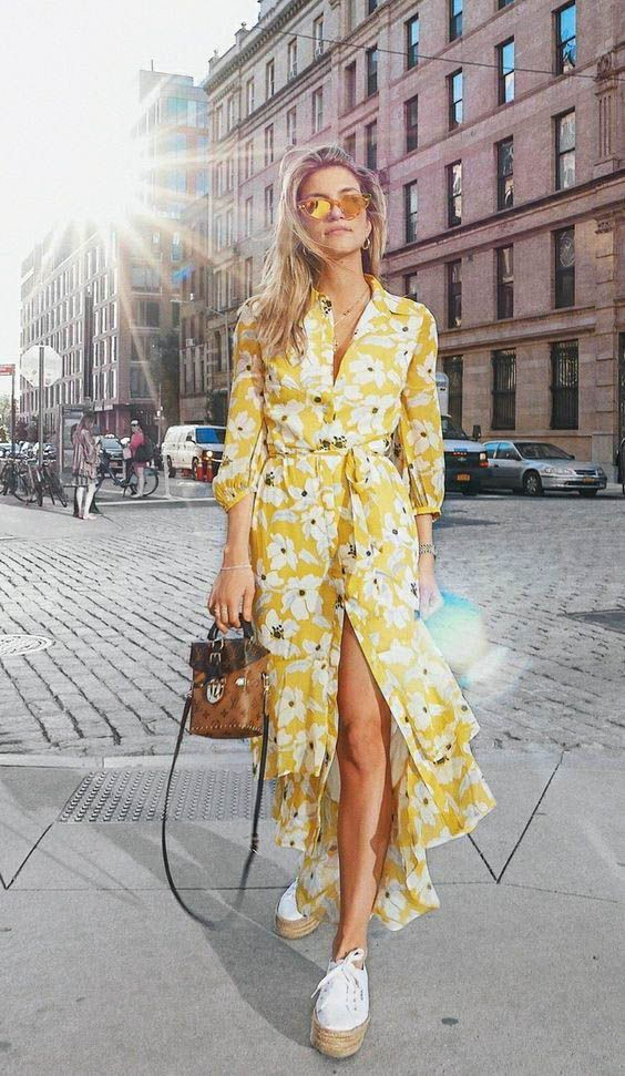 yellow floral dress with white platform sneakers. Visit Daily Dress Me at dailydressme.com for more inspiration                  women's fashion 2018, spring fashion, street style, maxi dresses, midi dresses, sneakers, summer outfits, casual fashion, fall fashion