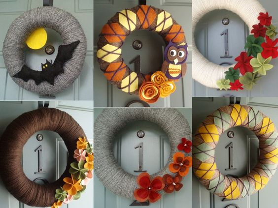 Wreaths for Fall---no directions but look pretty self explanatory...could use one covered wreath and attach different emblishments with pins.