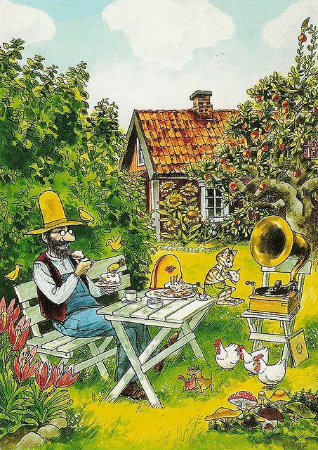 Oyendo música en el jardín - Sven Nordqvist, Sweden: