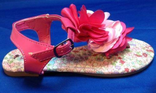 Sarah-Jayne-Sandals-10-Toddler-Thong-Buckle-Flats-Flowers-Pink