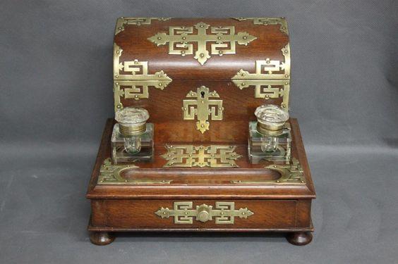 Good Victorian Walnut Desk Compendium,