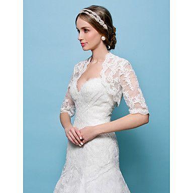 Hochzeitsverpackungen Boleros schnüren weiß / beige bolero Achselzucken – USD $ 33.99