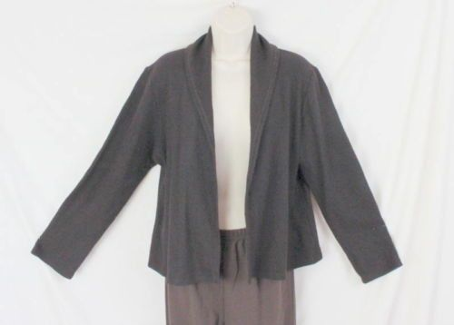 Eileen Fisher Sweater M size Womens Dark Brown Wool Caridgan Jacket Open Front