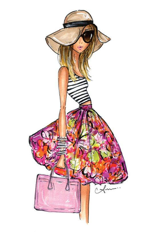 Fashion Illustration Print, Stripes + Floral