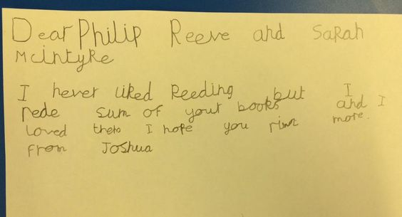Cute letter from reluctant reader! His teacher read them Pugs of the Frozen North by Philip Reeve and Sarah McIntyre, and he went and read their other books!