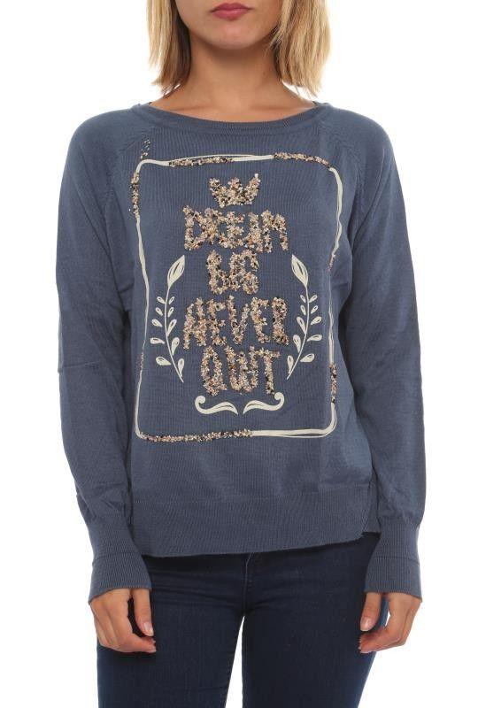 Dream Big - Damen Rundhals Pullover Sara Vintage Blau