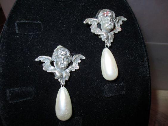 Angel dangle pearl clip-on earrings