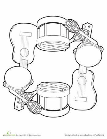 Worksheets Instrument Worksheets For Preschool music mandala 2 musicals mandalas and musical instruments