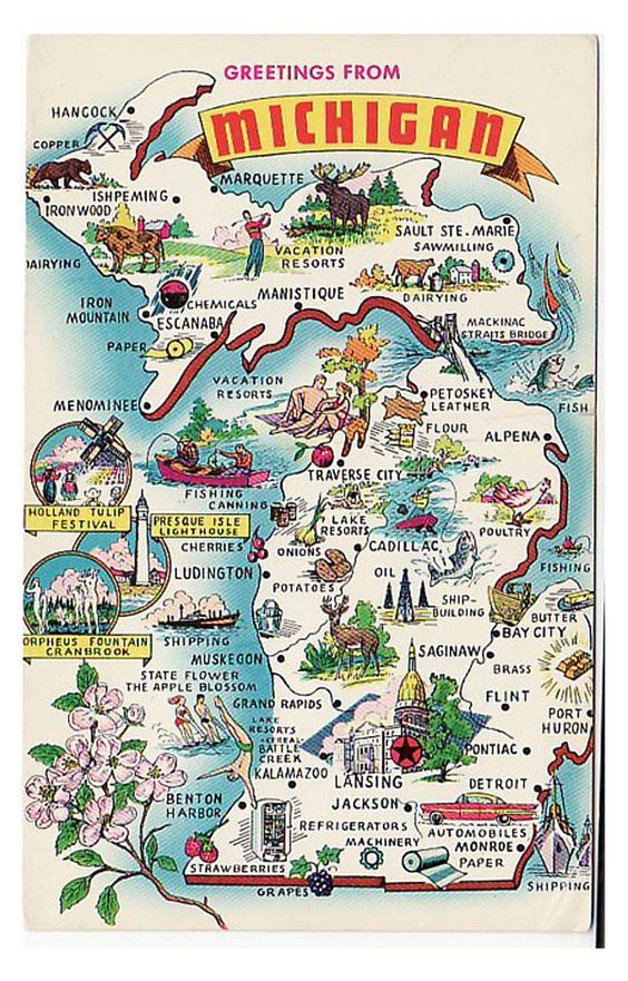 A Boat Beneath A Sunny Sky Michigan State Map Michigan Travel