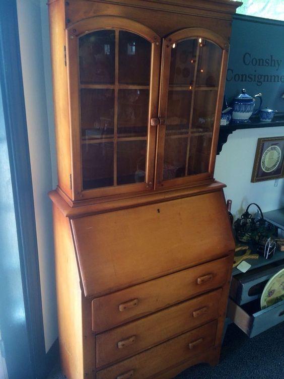 Vintage Secretary Desk With Hutch Maple Glass Doors