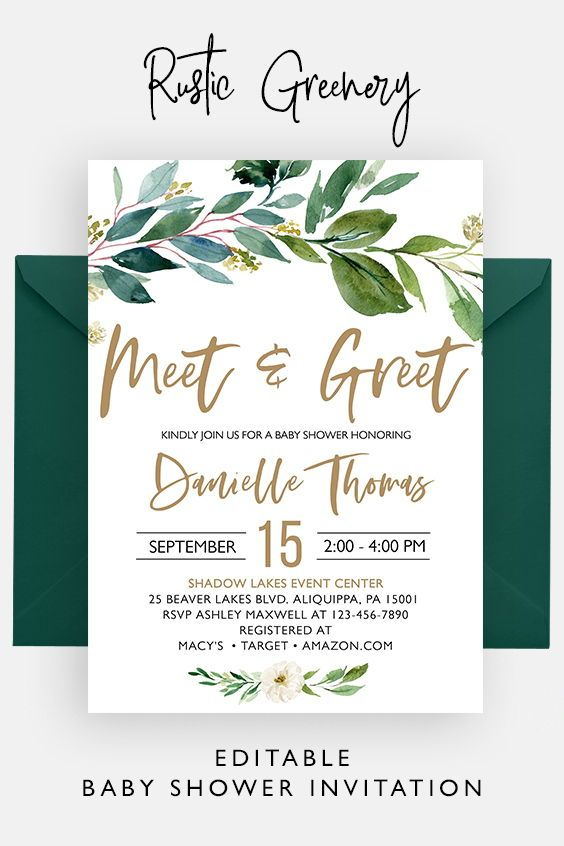 Rustic Greenery Meet And Greet Baby Shower Invitation Etsy Baby Shower Invitations Baby Shower Invitation Templates Invitation Template