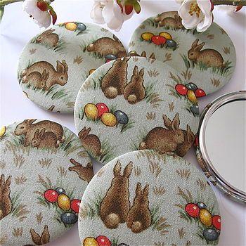 Easter Rabbit Fabric Pocket Mirror