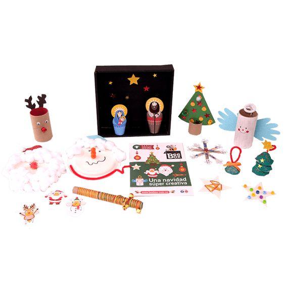 Caja BeeBox Navidad 🎄.  Cada caja de BeeBox incluye 3 o 4 manualidades con los materiales y el instructivo para desarrollar los proyectos, actividades que vas a encontrar en esta caja: para esta fecha tan especial que mejor que los niños creen su versión de la navidad.