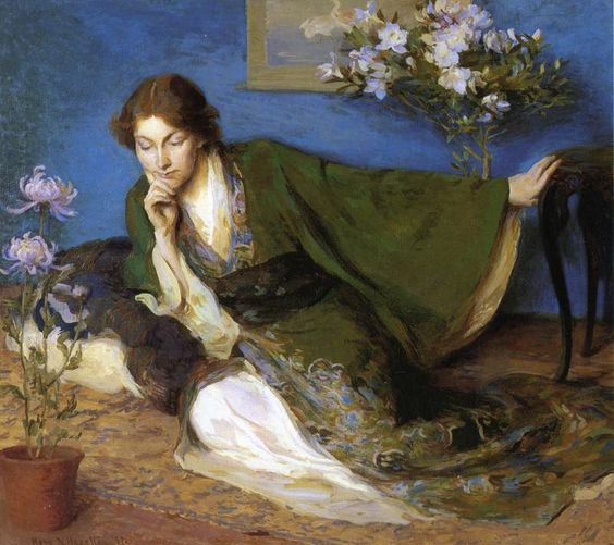 """""""La Japonaise,"""" Mary Brewster Hazelton, 1897, oil on canvas , 35 x 40"""", private collection."""