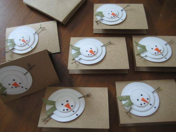 Handgemachte Weihnachtskarten rustikale Schneemann von GrammyandMe