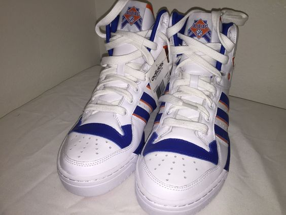 Adidas Originals Attitude Hi Knicks White Orange Blue Athletic Sneakers Sz 9 | eBay