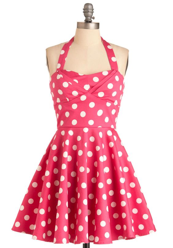 Traveling Cupcake Truck Dress - Short, Rockabilly, Pink, White, Polka Dots, Party, 50s, A-line, Halter