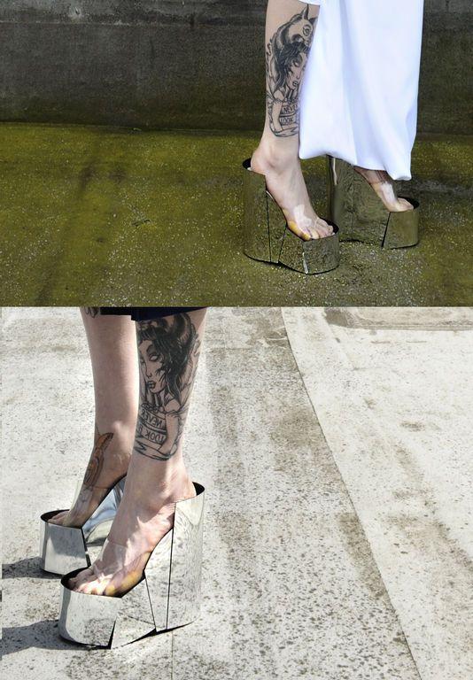 Futuristic Look, Strange Shoes, Mirror, Avant-Garde Fashion, 'UN-' Shoes by Yirantian Guo. REALLY!!!!