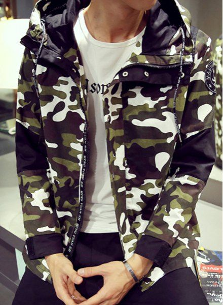 Hooded Color Block Splicing Letters Print Long Sleeve Camo Jacket ...