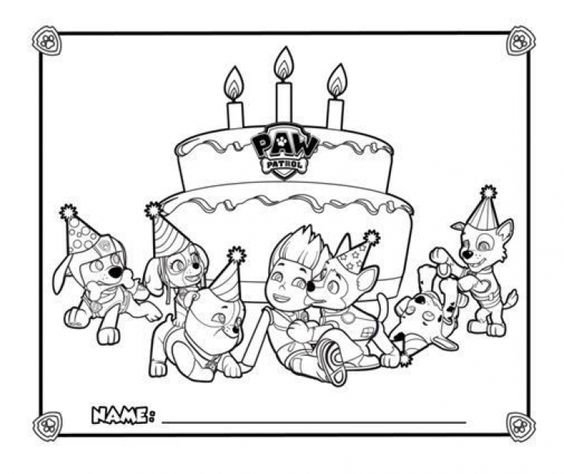 Happy Birthday From Paw Patrol Coloring Page Printable