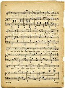 lullaby sheet music, vintage lullaby, margaret tuggle, shabby aged paper, free…