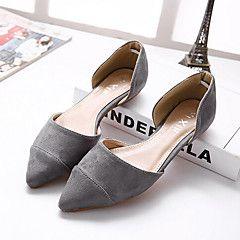 Chaussures Femme - Décontracté - Noir / Gris - Talon Plat - Bout Pointu - Plates - Similicuir