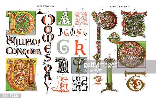 Vintage lithograph from 1860 of examples of Medieval Illuminated Letters from, the 11th and 12th Century period
