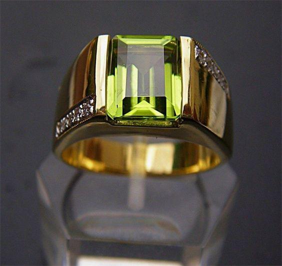 Men's 18K Solid Gold Peridot Diamond Ring   Jewelry & Watches, Men's Jewelry, Rings   eBay!
