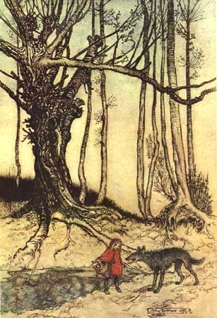 """""""Little Red Riding Hood"""" by Arthur Rackham from The Fairy Tales of Brothers Grimm.  Mrs. Edgar Lucas, trans. Arthur Rackham, illustrator.  London:  Constable & Company Ltd., 1909.  More information can be found at one of my favorite websites, www.surlalunefairytales.com"""