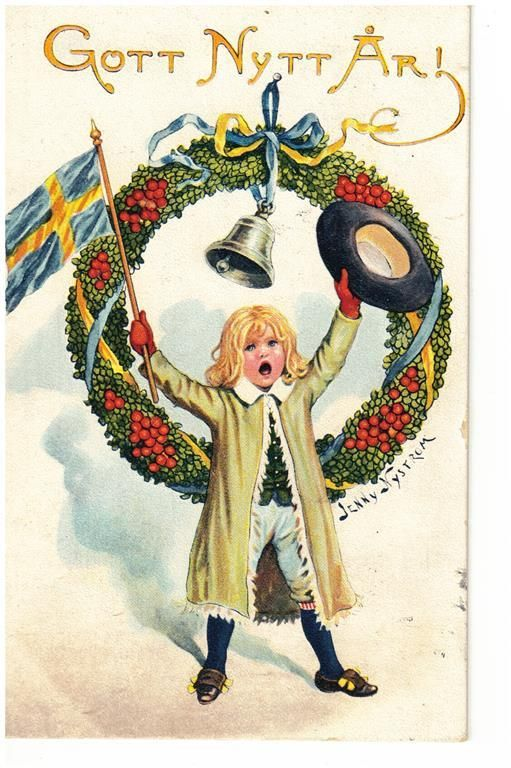 Annons på Tradera: JENNY NYSTRÖM- GOTT NYTT ÅR ! - 1918 -