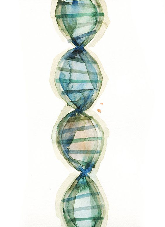 DNA Watercolor Print - Genetics Watercolor Art Print Set - Geneticist Art…: