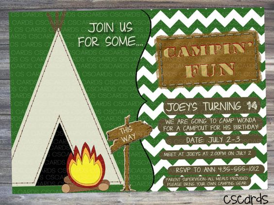 Campout Birthday Party Invitation! Digital Copy Only! A cute camping invitation, boys birthday, only $12.00!