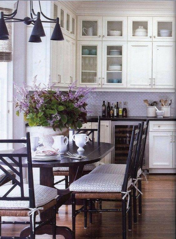 Lavender backsplash white cabinets blue accents