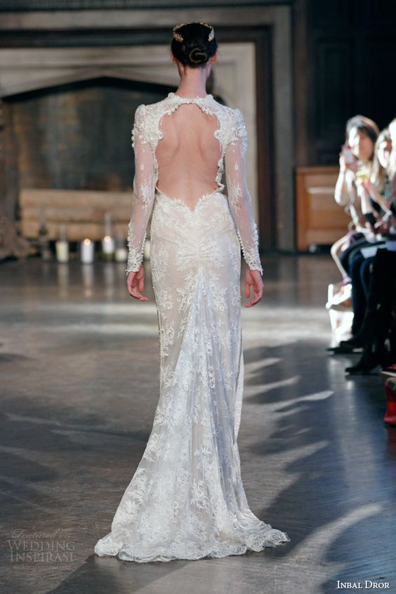 inbal dror bridal fall winter 2015 gown 2 high neck illusion long sleeve sheath wedding dress keyhole back view