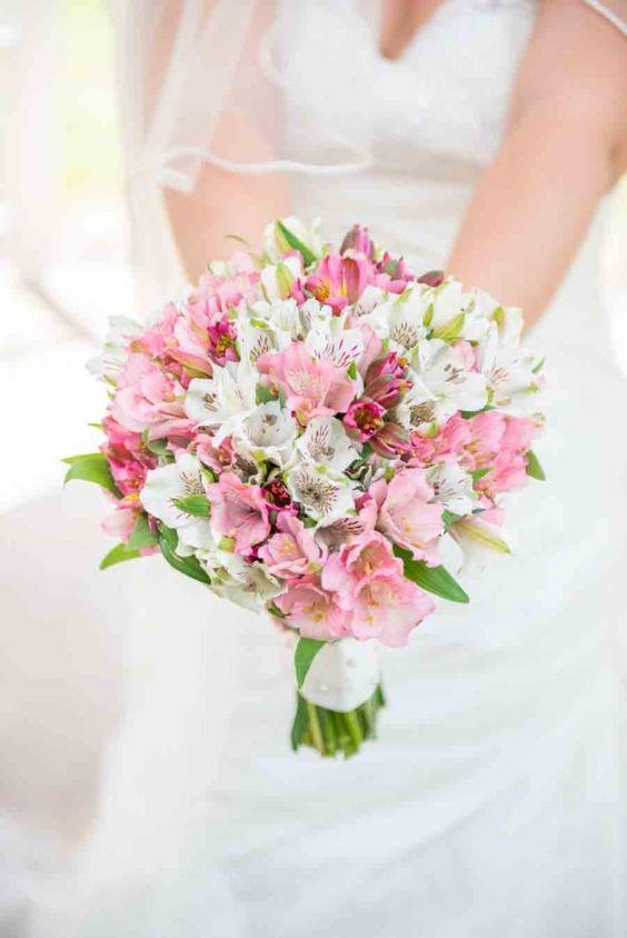 July Wedding Flower Bouquet Bridal Flowers Arrangements Alstroemeria pink bouquets bridesmaids