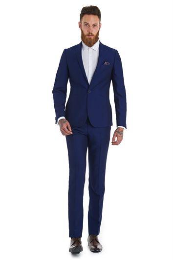 Moss London Slim Fit Electric Blue Suit | Indigo Blue Suits