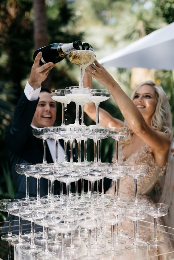 outdoor champagne tower for toasts after the ceremony